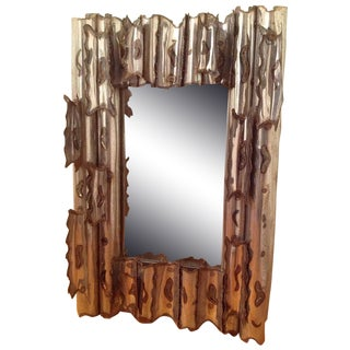 Tom Greene Vintage Brutalist Metal Wall Mirror