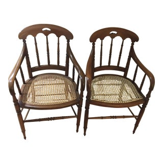 Cherry Caned Captain Arm Chairs - A Pair