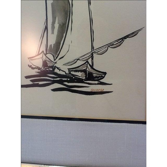 Mid Century Sailboat Painting. Black Ink Original Signed Sailboat Painting - Image 5 of 10