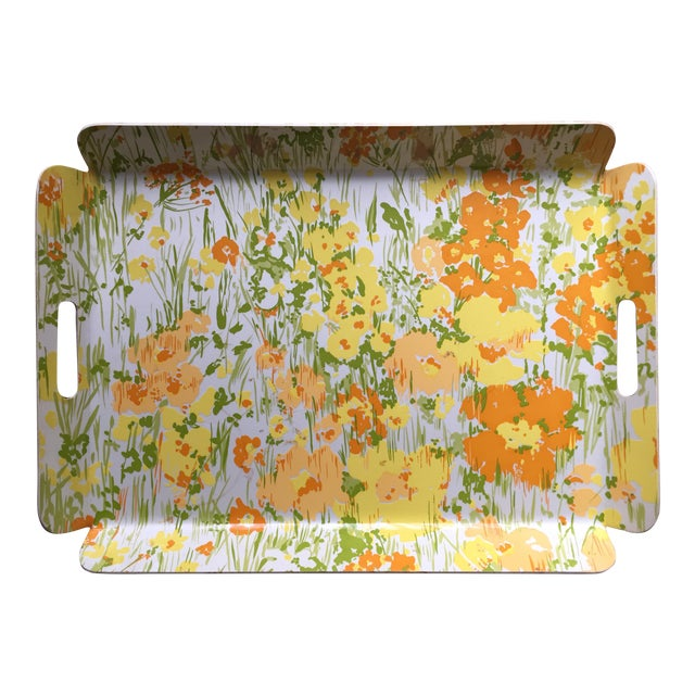 """Vintage D. Porthault 22""""Yellow Floral Tray - Image 1 of 4"""