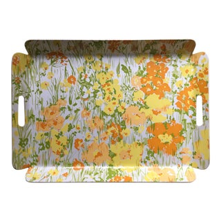 "Vintage D. Porthault 22""Yellow Floral Tray"