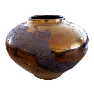 Impressive West German 1990s Copper Metallic and Lava-Glazed Ceramic Vase