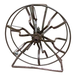 Industrial Solid Steel Accent Line Wire Reel, 1970s
