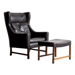 Fredrik Kayser Wingback Lounge Chair and Ottoman