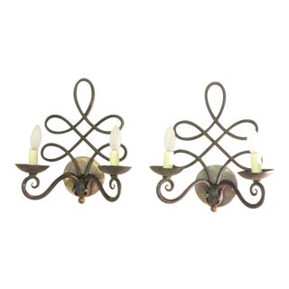 French Art Deco Iron Sconces - A Pair