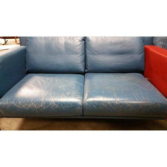 Vintage 1980s Italian Blue Leather Sofa - Image 7 of 10