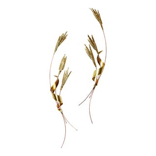 Hollywood Regency Gold Tone Wheat Wall Sculptures - A Pair