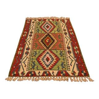 """Turkish Anatolian Kilim Wool Rug - 3'7"""" X 6'2"""""""