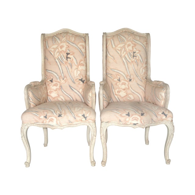 French Country High Back Bergeres - A Pair - Image 1 of 7