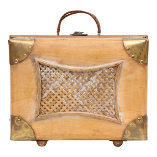 Vintage Brass and Wicker Wooden Luggage