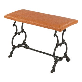 20th Century Antique Wrought Iron Ostrich Leather Bench
