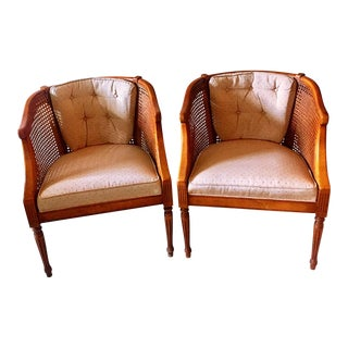 Mid-Century Regency Cane Club Chairs - A Pair