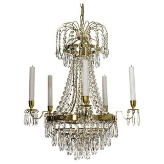 Empire 5 Arm Polished Brass Chandelier