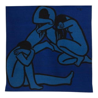 "Jan Yoors 1960's Hand-Woven ""Weeping Women IV"" tapestry"