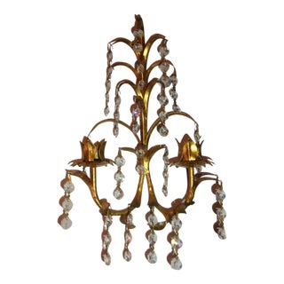 Italian Crystal Gold Gilt Candle Sconce