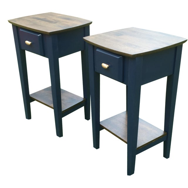 Navy Wood Nightstands - Pair - Image 1 of 4