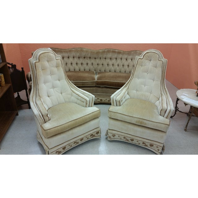 Image of Hollywood Regency Tall Tufted Hickory Chairs -Pair