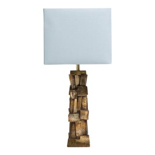 A Single Brutalist Metal Table Lamp with a Bronze Patina 1970s