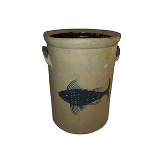 Tall Fish Design Crock