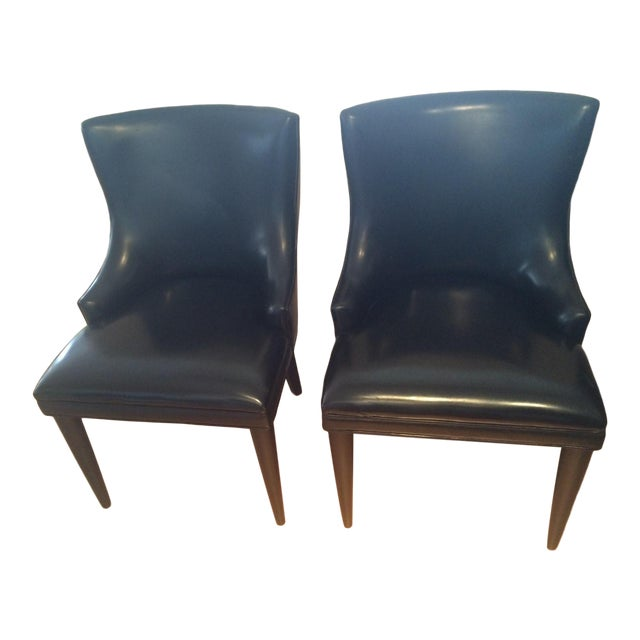 Baker Replica Black Leather Dining Chairs - A Pair - Image 1 of 8
