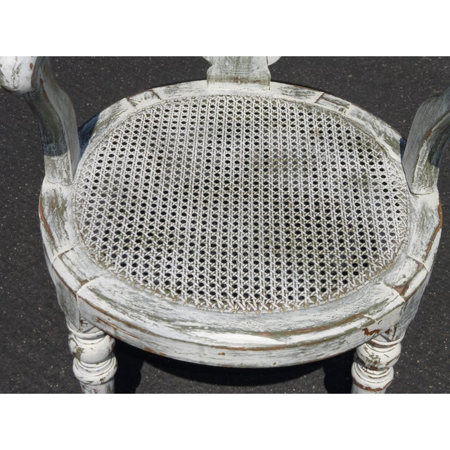 French White Cane Accent Arm Chair on Castors - Image 9 of 11