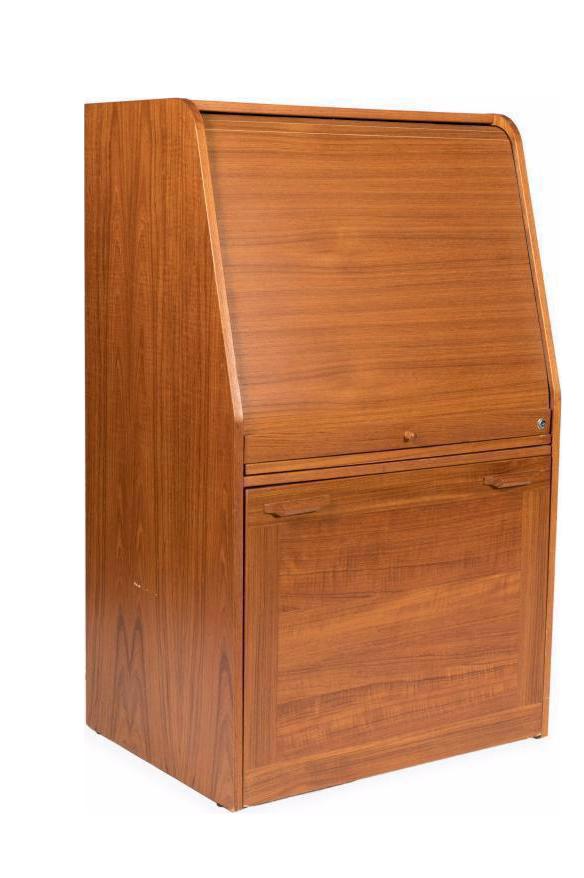 danish mid century modern teak tambour rolltop desk with hidden chair - Rolltop Desk