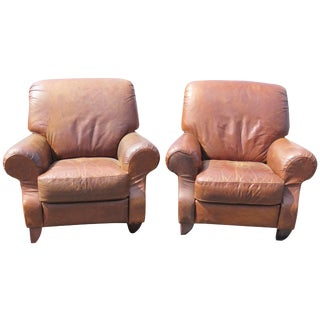Brown Leather Lounge Chairs - A Pair