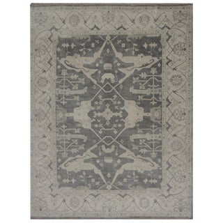 Hand Knotted Indian Oushak Rug - 8′ × 9′11″