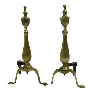 Antique Brass Ornate Andirons - A Pair