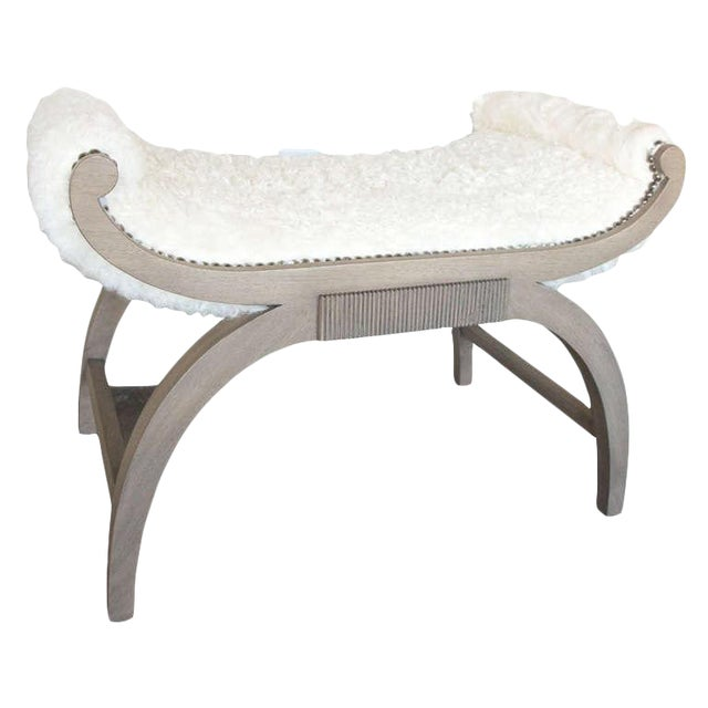 Customizable Paul Marra Neoclassical Bench in Curly Goat - Image 1 of 8