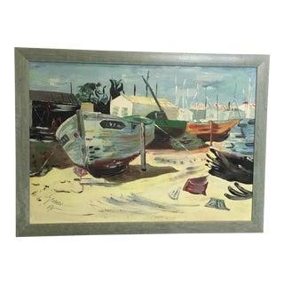 Vintage Boatyard Oil Painting