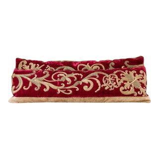 """Pair of Red Velvet """"Cloth of Gold"""" Pillows from Belgium, circa 1900"""