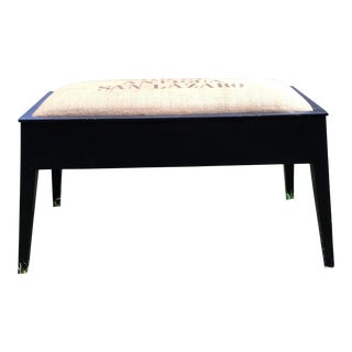 Burlap Stenciled Coffee Bean Bench
