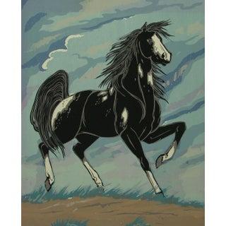 1970s Black & White Horse Serigraph
