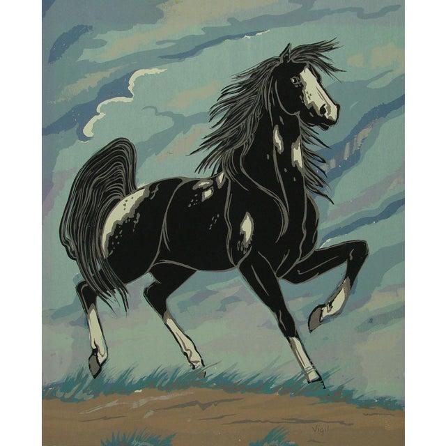 Image of 1970s Black & White Horse Serigraph