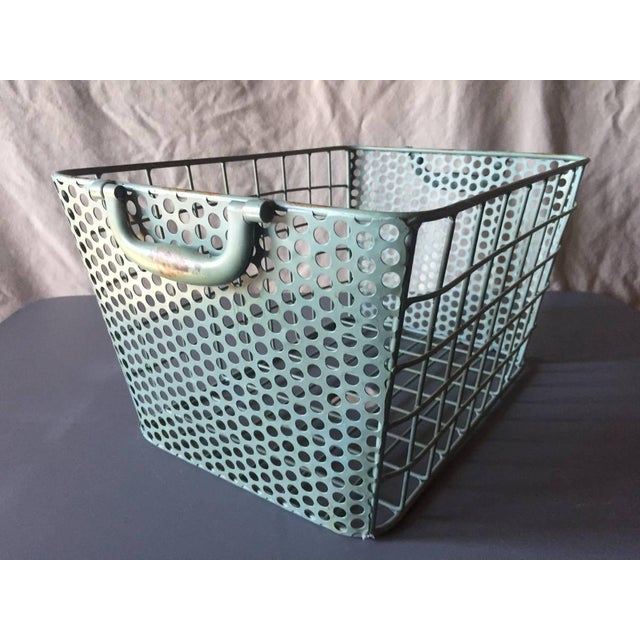 Blue Metal Perforated Industrial Style Basket - Image 5 of 8