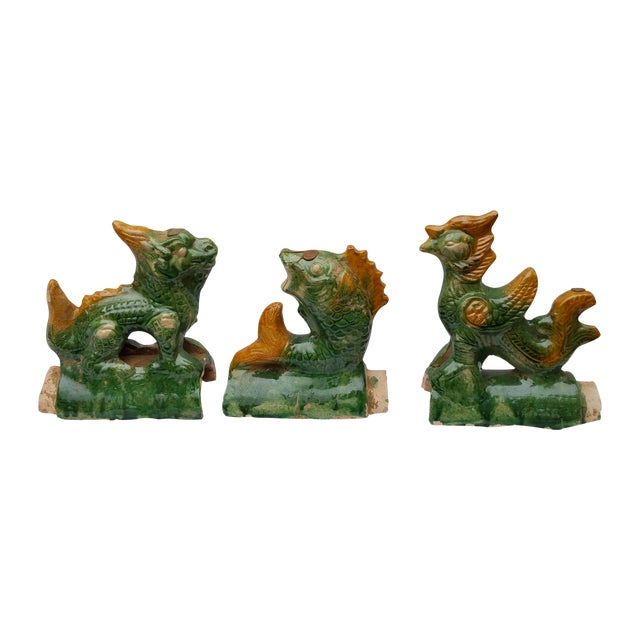 Chinese Terracotta Roof Finials - Set of 3 - Image 1 of 7