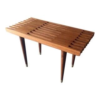 Mid Century Style Custom Walnut Slat Bench Table
