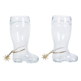 Two Spur Boot Glass Beer Steins by Carl Auböck