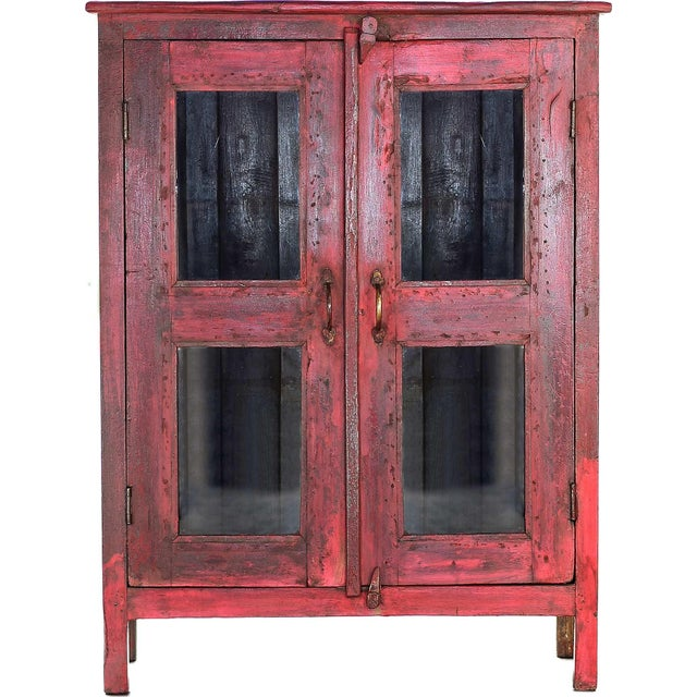 Red Vintage Wood Cabinet - Image 1 of 4