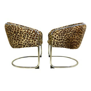 Chrome Cantilever Chairs in Leopard Print Brazilian Hair on Hide