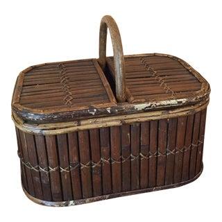 Vintage Bamboo Basket With Handle & Hinged Lid