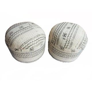 Black & White Mud Cloth Ottomans - A Pair