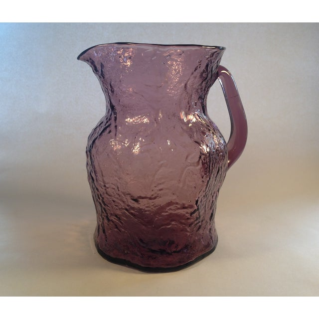 Morgantown Crinkle Glass Amethyst Pitcher - Image 2 of 6
