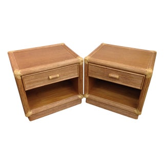 Island Style Wood & Rattan Nightstands - A Pair