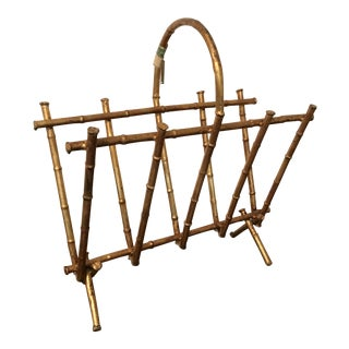 Vintage Gilt Faux Bamboo Magazine Rack Holder