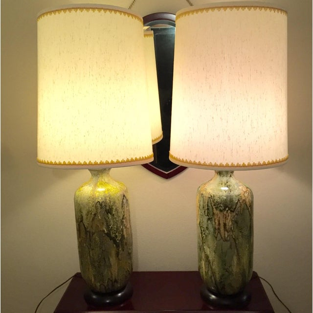 Image of Mid-Century Heavy Drip Glaze Lamps - A Pair