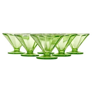 1950's Green Glass Coupes - Set of 6