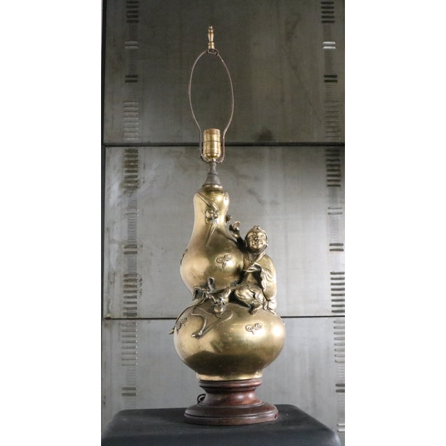 Image of Asian-Inspired Brass Table Lamp