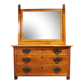 Antique Birdseye Maple Chiffonier Chest with Mirror